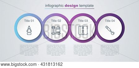 Set Line Drawing Compass, Scale With Suitcase, Depth Measurement And Measuring Spoon. Business Infog