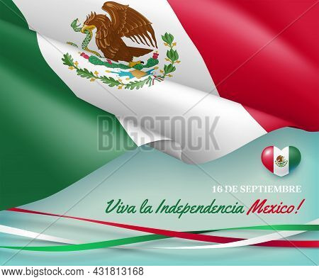 Happy Independence Day Of Mexico 16th Of September. Viva La Independencia Mexico Festive Banner, Inv