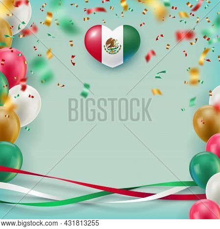 Blank Banner In Mexican Flag Colors Space For Text. Independence Day National Holiday Of Mexico Cele