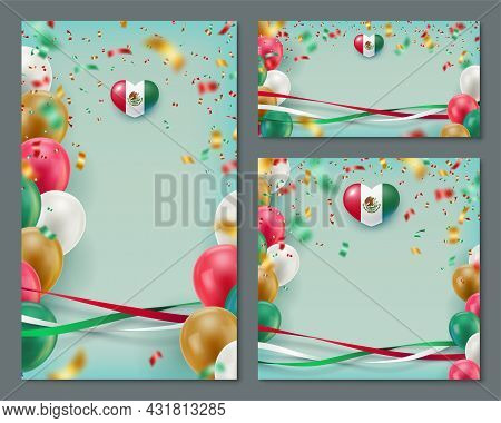 Happy Independence Day Of Mexico Banners Cards Set. Mexican National Patriotic Holiday Background Wi