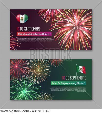 16 De Septiembre Viva La Independencia Mexico Banners Set. National Day Of Mexico Country Celebratio