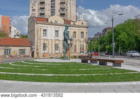 Belgrade, Serbia - May 02, 2021: New Monument To Despot Stefan Lazarevic In The Centre Of Belgrade B