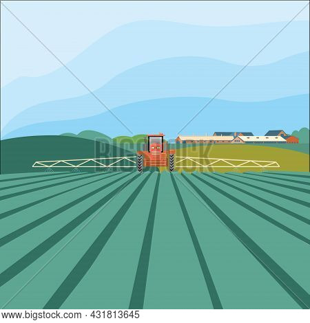 Tractor In The Field. Agribusiness Concept, Agricultural Industry. Agroindustry And Farming. Vector