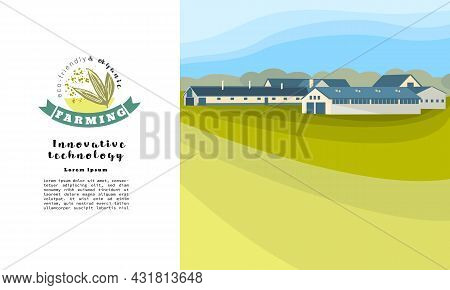 Organic Farm Design. Fields, Agricultural Land, Hangars For Livestock. Template Of A Leaflet, Bookle