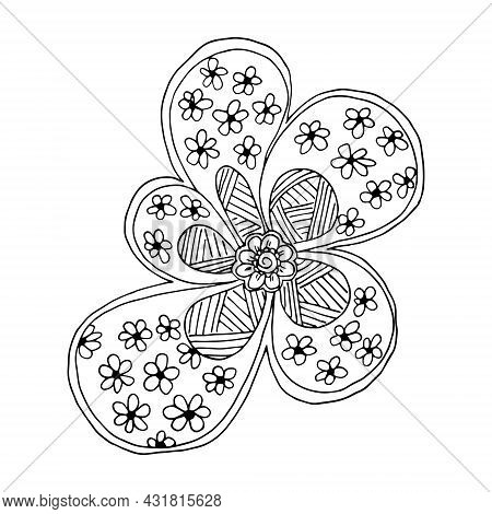 Abstract Flower Arrangement Hand-drawn In The Style Of A Doodle Or Sketch, For The Page Of A Colorin