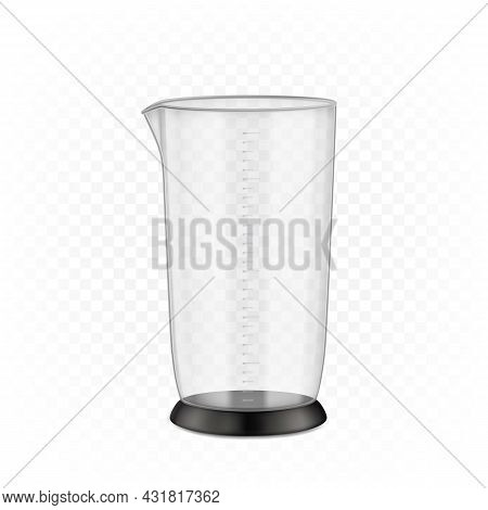 Measuring Cup Immersion Blender Device Part Vector. Plastic Measuring Cup For Cooking Smoothie And C