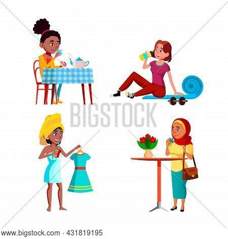 Teen Girls Drinking Freshness Drinks Set Vector. Teen Girls Drinking Fresh Water After Training And