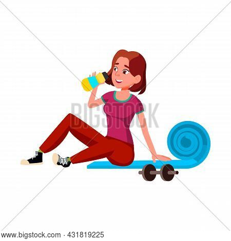 Girl Teen Drinking Water After Training Vector. Thirsty Teenager Drinking Refreshment Beverage From