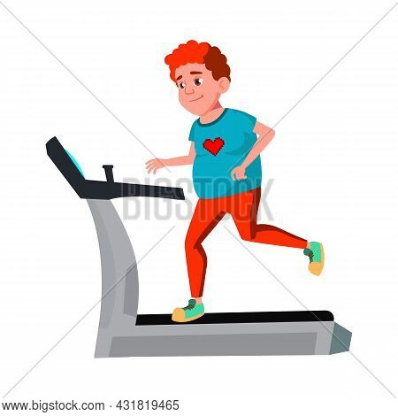 Fat Boy Teen Running On Treadmill In Gym Vector. Smiling Thick Teenager Running And Exercising On Sp