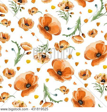Atercolor Seamless Background With Field Flowers And Herbs. Pattern With Hand Painted Poppy.