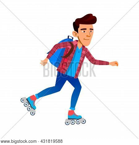 Schoolboy Riding Roller Skates Outdoor Vector. Asian School Boy Ride Roller Skates In Park. Characte