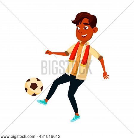 School Boy Playing Soccer Sport Team Game Vector. Hispanic Schoolboy Play With Ball In Soccer. Chara
