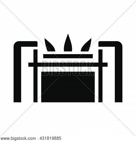 Gas Burner Icon. Black Stencil Design. Vector Illustration.