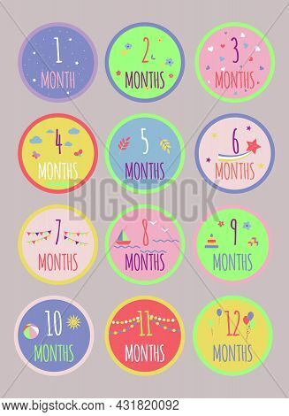 Cute Monthly Growth Baby Stickers. For Photo Shoot Decor, Party Unvitation, Card.