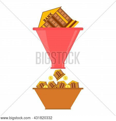Sales Funnel Concept. The Bank Building Falls Into A Funnel And Many Small Buildings Banks Is Made.