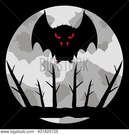 Vampire Bat With Bloody Eyes, Fangs And Claws On A Pale Moon Background. Flies In The Sky Over A Bra