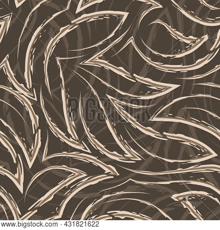 Vector Seamless Pattern In Beige Colors From Corners And Flowing Stripes With Torn Edges.vector Seam