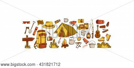 Camping And Travel Items Set. Hand Drawn Style. Items Are Arranged Horizontally. Hat, Canned Food, S