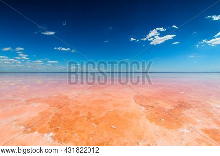 Salt Lake With Pink Salt And The Blue Sky With Clouds. Sasyk-sivash Pink Salt Lake In Crimea. Summer