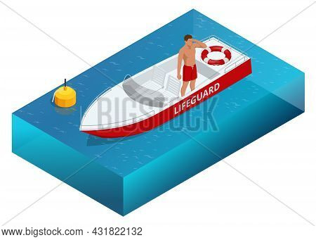 Isometric Handsome Male Lifeguard With Life Buoy At Boat. Lifeguard On The Beach.safety While Swimmi