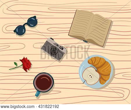 Illustration Of Sweet Pastries For Tea. Croissants, Sweet Rolls And Coffee Cups. Snack At The Cafe.