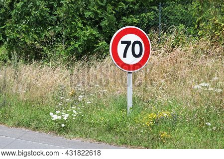 Speed Limit Traffic Sign Seventy In France