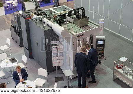 Automatic Industrial Robot. Top-view, High-tech Expo In Poland.