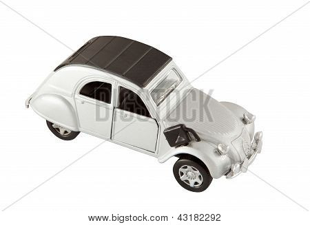 Classic Silver Toy Car With Clipping Path