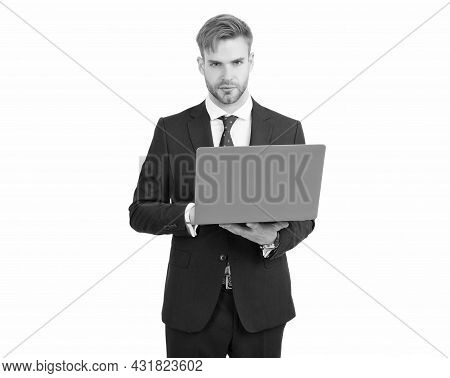 Committed To Work. Freelancer Work On Laptop Isolated On White. Freelance Worker. Freelance Programm