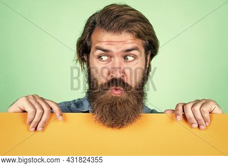 Look Here. Unshaven Guy With Groomed Long Hair. Barbershop And Hairdresser. Male Beauty And Fashion.