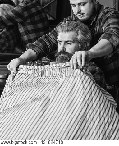 Male Barber Care. Barber With Male Client. Hipster With Dyed Beard And Moustache. Man Want New Hairs