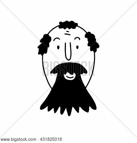 Doodle Bearded Man Face. Hand-drawn Outline Human Isolated On White Background. Smiling Avatar. Cart