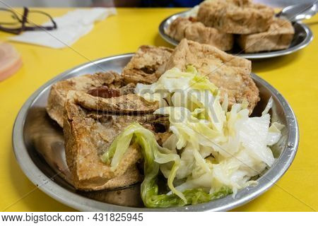 Taiwanese traditional stinky tofu on the table