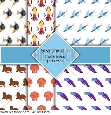 Set With Six Sea Animal Seamless Pattern With Squid And Cuttlefish, Fur Seal, Angelfish. Undersea Wo