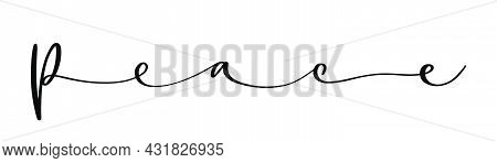 Peace Text Lettering. International Day Of Peace. Handwritten Text Lettering. One Line Style