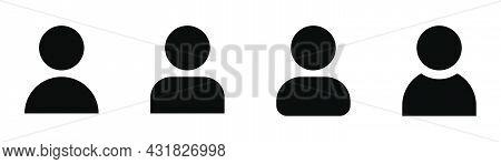 User Avatar Icons. Glyph Profile Symbol. Filled Avatar Sign. Black Profile Set