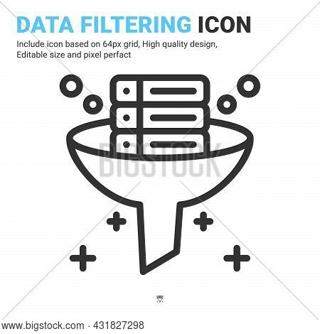 Data Filtering Icon Vector With Outline Style Isolated On White Background. Vector Illustration Data