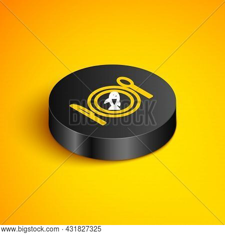 Isometric Line Served Fish On A Plate Icon Isolated On Yellow Background. Black Circle Button. Vecto