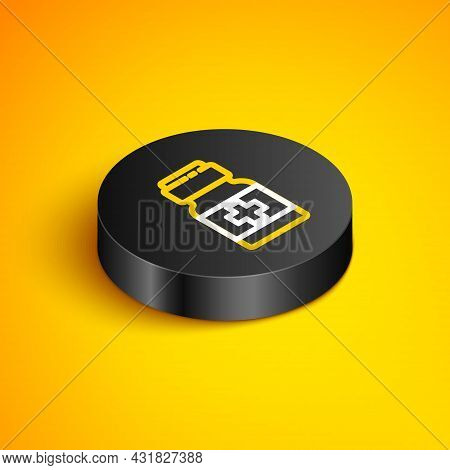 Isometric Line Medicine Bottle And Pills Icon Isolated On Yellow Background. Medical Drug Package Fo