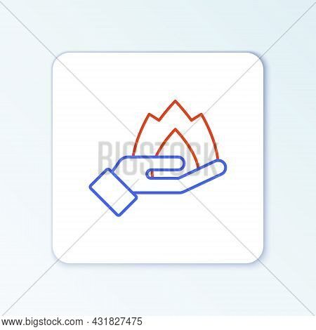 Line Hand Holding A Fire Icon Isolated On White Background. Insurance Concept. Security, Safety, Pro