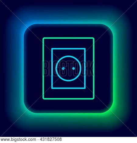 Glowing Neon Line Electrical Outlet Icon Isolated On Black Background. Power Socket. Rosette Symbol.