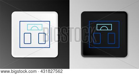 Line Bathroom Scales Icon Isolated On Grey Background. Weight Measure Equipment. Weight Scale Fitnes