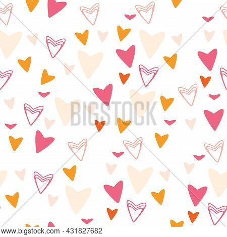 Cute Seamless Pattern On A White Background. Geometric Shapes And Hearts.