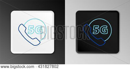 Line Phone With 5g New Wireless Internet Wifi Icon Isolated On Grey Background. Global Network High