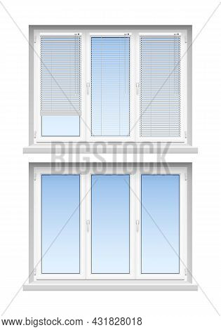 Modern Classic White Jalousies For Home Decoration And Remodeling  2 Realistic Louvers Windows Icons