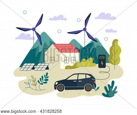 Eco-friendly Green Renewable Energy Banner. Electric Car, Smart House, Solar Panels And Wind Power T