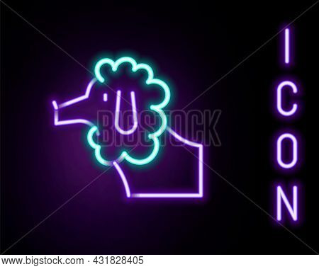 Glowing Neon Line French Poodle Dog Icon Isolated On Black Background. Colorful Outline Concept. Vec
