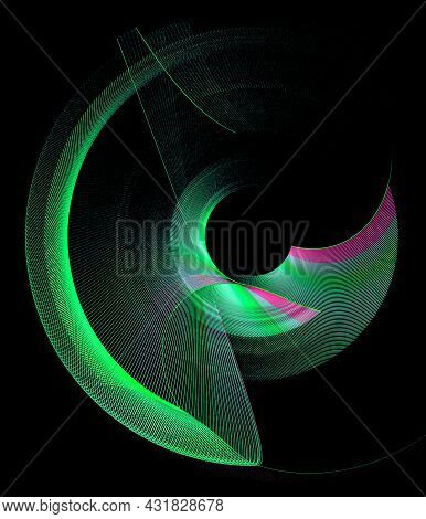 Green Curved Transparent Striped Elements With A Red Border Revolve On A Black Background. Graphic D