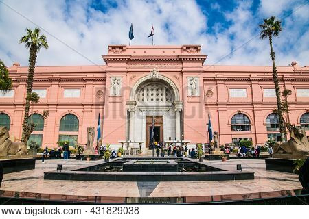 Cairo, Egypt - Jan 31, 2020:  Exterior of the Museum of Egyptian Antiquities (Egyptian Museum) which houses the world's largest collection of ancient Egyptian antiquities in Cairo,  Egypt.