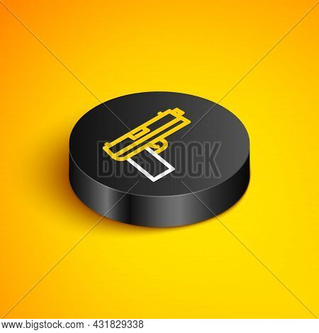 Isometric Line Pistol Or Gun Icon Isolated On Yellow Background. Police Or Military Handgun. Small F